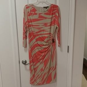 Alex Marie Pink and Tan Wrap Dress Size Large